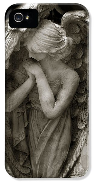 Angel Photography - Dreamy Spiritual Angel Art - Guardian Angel Art In Prayer  IPhone 5 / 5s Case by Kathy Fornal