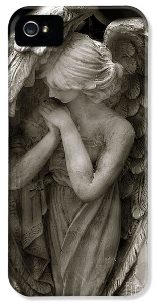 Angel iPhone 5 Cases - Angel Photography - Dreamy Spiritual Angel Art - Guardian Angel Art In Prayer  iPhone 5 Case by Kathy Fornal