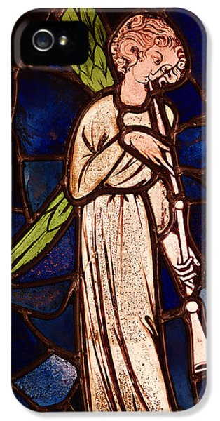 Blowing iPhone 5 Cases - Angel Playing A Trumpet, C.1280 Stained Glass iPhone 5 Case by English School