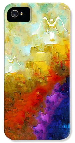Jewish iPhone 5 Cases - Angels Among Us - Emotive Spiritual Healing Art iPhone 5 Case by Sharon Cummings