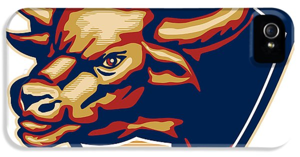 Bull iPhone 5 Cases - Angry Bull Head Crest Retro iPhone 5 Case by Aloysius Patrimonio