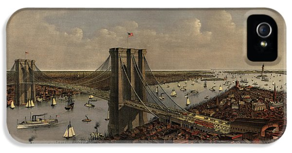 State Bird iPhone 5 Cases - Antique Birds Eye View of the Brooklyn Bridge and New York City by Currier and Ives - 1885 iPhone 5 Case by Blue Monocle