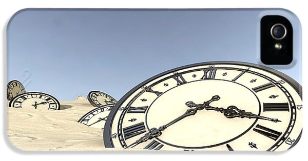 Clock iPhone 5 Cases - Antique Clocks In Desert Sand iPhone 5 Case by Allan Swart
