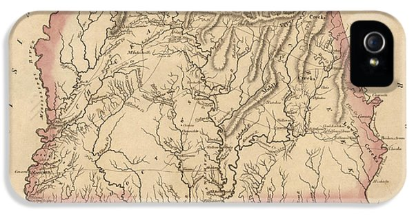 Alabama iPhone 5 Cases - Antique Map of Alabama and Mississippi by Fielding Lucas - circa 1817 iPhone 5 Case by Blue Monocle
