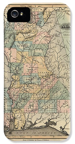 Alabama iPhone 5 Cases - Antique Map of Alabama by Fielding Lucas - 1826 iPhone 5 Case by Blue Monocle
