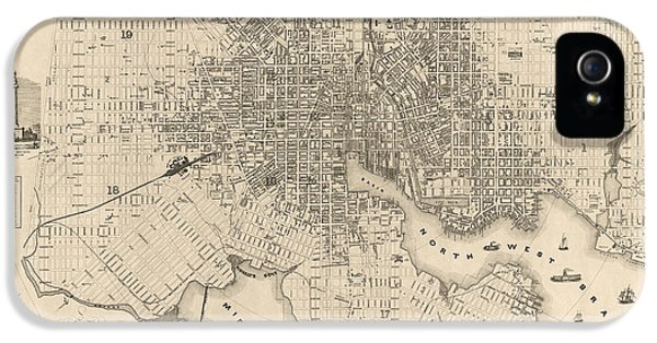 Map iPhone 5 Cases - Antique Map of Baltimore Maryland by Sidney and Neff - 1851 iPhone 5 Case by Blue Monocle