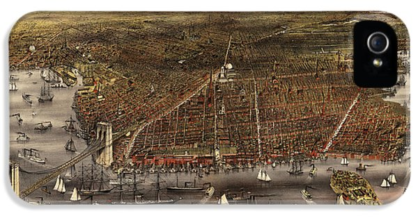 State Bird iPhone 5 Cases - Antique Map of Brooklyn by Currier and Ives - circa 1879 iPhone 5 Case by Blue Monocle