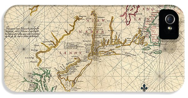 Mid iPhone 5 Cases - Antique Map of Colonial America by Joan Vinckeboons - circa 1639 iPhone 5 Case by Blue Monocle