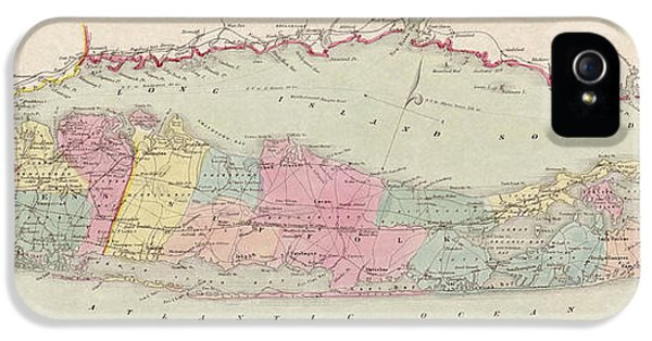 Map iPhone 5 Cases - Antique Map of Long Island by J.H. Colton and Co. - 1857 iPhone 5 Case by Blue Monocle