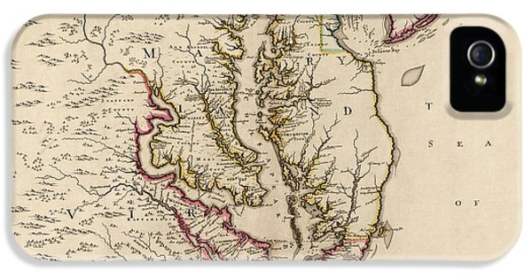 Bay iPhone 5 Cases - Antique Map of Maryland and Virginia by John Senex - 1719 iPhone 5 Case by Blue Monocle