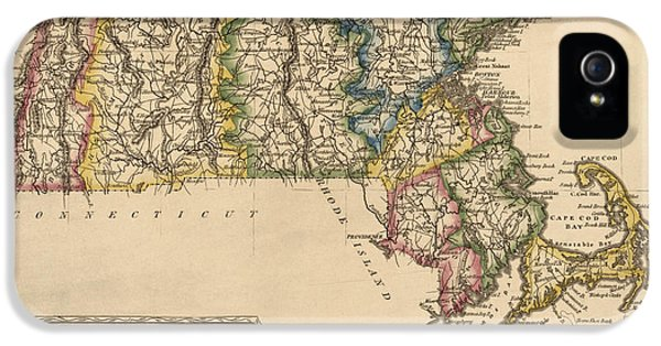 Massachusetts iPhone 5 Cases - Antique Map of Massachusetts by Fielding Lucas - circa 1817 iPhone 5 Case by Blue Monocle