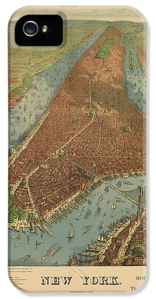 State Bird iPhone 5 Cases - Antique Map of New York City - 1879 iPhone 5 Case by Blue Monocle