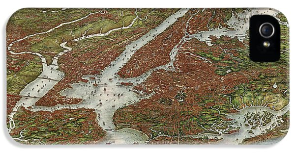 State Bird iPhone 5 Cases - Antique Map of New York City by August R. Ohman - 1907 iPhone 5 Case by Blue Monocle