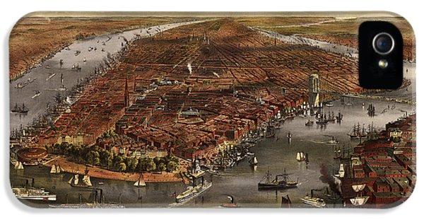 State Bird iPhone 5 Cases - Antique Map of New York City by Currier and Ives - 1870 iPhone 5 Case by Blue Monocle