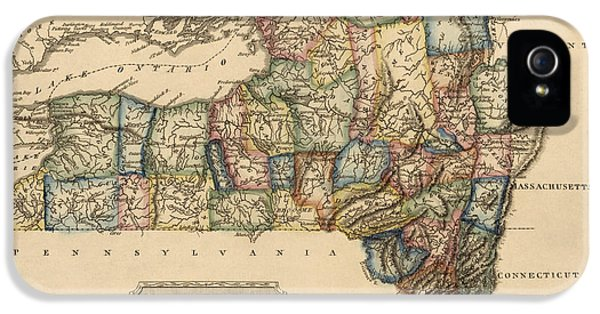 Antique Map Of New York State By Fielding Lucas - Circa 1817 IPhone 5 / 5s Case by Blue Monocle