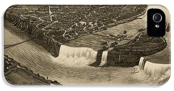 State Bird iPhone 5 Cases - Antique Map of Niagara Falls New York by H. Wellge - 1882 iPhone 5 Case by Blue Monocle