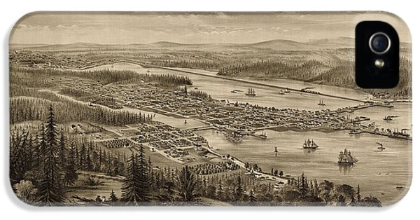 State Bird iPhone 5 Cases - Antique Map of Olympia Washington by E.S. Glover - 1879 iPhone 5 Case by Blue Monocle