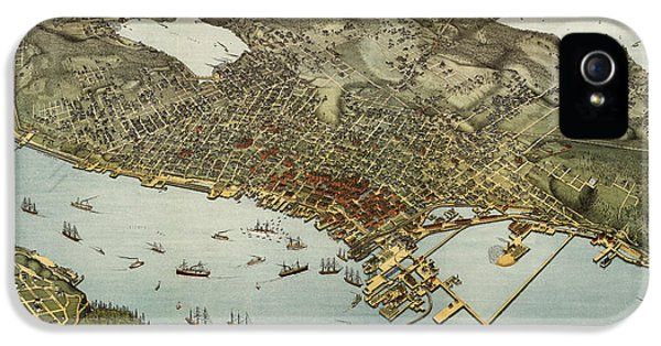 State Bird iPhone 5 Cases - Antique Map of Seattle Washington by Augustus Koch - 1891 iPhone 5 Case by Blue Monocle