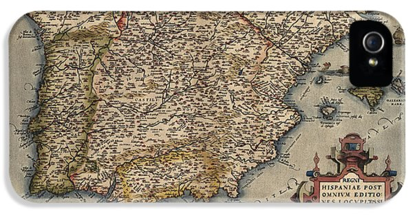 Spain iPhone 5 Cases - Antique Map of Spain and Portugal by Abraham Ortelius - 1570 iPhone 5 Case by Blue Monocle