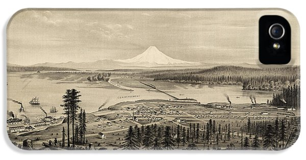 State Bird iPhone 5 Cases - Antique Map of Tacoma Washington by E.S. Glover - 1878 iPhone 5 Case by Blue Monocle