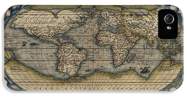 World Map iPhone 5 Cases - Antique Map of the World by Abraham Ortelius - 1570 iPhone 5 Case by Blue Monocle