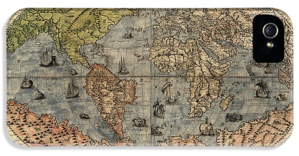 World Map iPhone 5 Cases - Antique Map of the World by Paolo Forlani - 1565 iPhone 5 Case by Blue Monocle