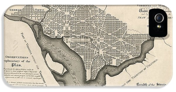 District Columbia iPhone 5 Cases - Antique Map of Washington DC by Andrew Ellicott - 1792 iPhone 5 Case by Blue Monocle