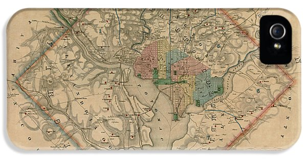 Washington iPhone 5 Cases - Antique Map of Washington DC by Colton and Co - 1862 iPhone 5 Case by Blue Monocle