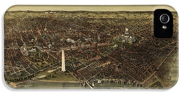 District Columbia iPhone 5 Cases - Antique Map of Washington DC by Currier and Ives - circa 1892 iPhone 5 Case by Blue Monocle