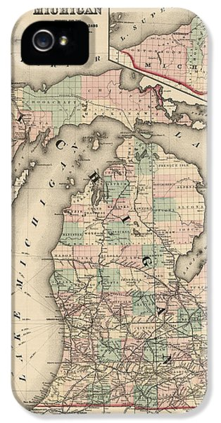 Lake Michigan iPhone 5 Cases - Antique Railroad Map of Michigan by Colton and Co. - 1876 iPhone 5 Case by Blue Monocle