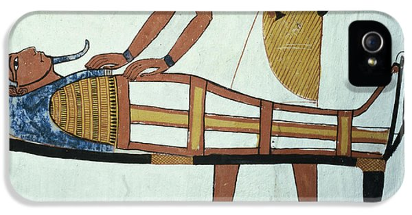 Burial iPhone 5 Cases - Anubis And A Mummy, From The Tomb Of Sennedjem, The Workers Village, New Kingdom Mural See iPhone 5 Case by Egyptian 19th Dynasty
