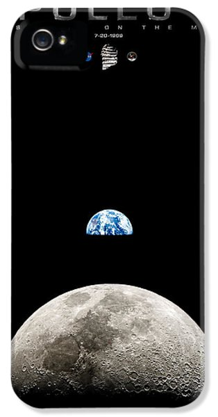 Apollo Print iPhone 5 Cases - Apollo 11 First Man On The Moon iPhone 5 Case by Weston Westmoreland