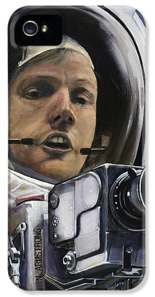Science Print iPhone 5 Cases - Apollo- For Mankind iPhone 5 Case by Simon Kregar