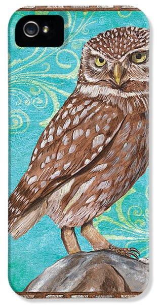 Camping iPhone 5 Cases - Aqua Barn Owl iPhone 5 Case by Debbie DeWitt
