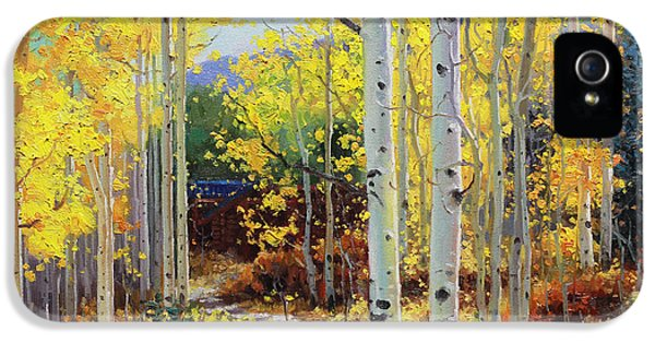 Foliage iPhone 5 Cases - Aspen Cabin iPhone 5 Case by Gary Kim