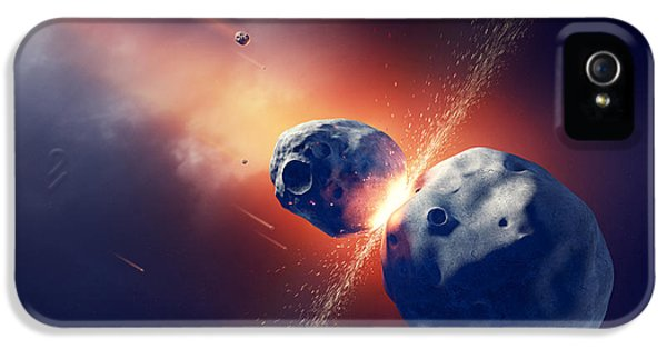 Asteroids Collide And Explode  In Space IPhone 5 / 5s Case by Johan Swanepoel