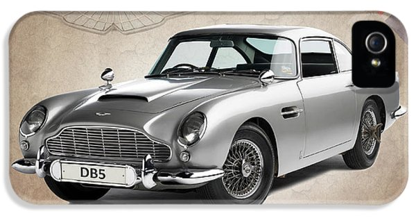 Vintage Car iPhone 5 Cases - Aston Martin DB5 iPhone 5 Case by Mark Rogan