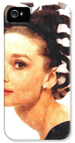 Film Watercolor iPhone 5 Cases - Audrey Hepburn in Watercolor iPhone 5 Case by Gianfranco Weiss