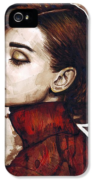 Actor iPhone 5 Cases - Audrey Hepburn iPhone 5 Case by Olga Shvartsur