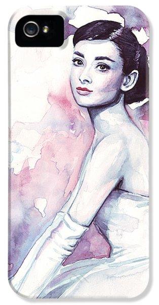 Audrey Hepburn Purple Watercolor Portrait IPhone 5 / 5s Case by Olga Shvartsur