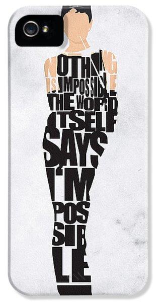 Typography Print iPhone 5 Cases - Audrey Hepburn Typography Poster iPhone 5 Case by Ayse Deniz