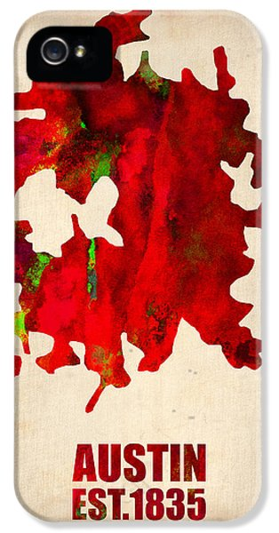 Atlas iPhone 5 Cases - Austin Watercolor Map iPhone 5 Case by Naxart Studio