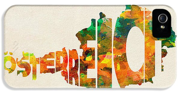 Modern Steampunk iPhone 5 Cases - Austria Typographic Watercolor Map iPhone 5 Case by Ayse Deniz