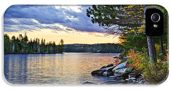Beautiful iPhone 5 Cases - Autumn sunset at lake iPhone 5 Case by Elena Elisseeva