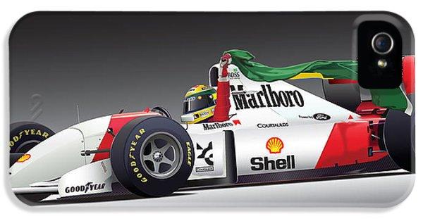 Formula One iPhone 5 Cases - Ayrton Senna Da Silva art iPhone 5 Case by Alain Jamar