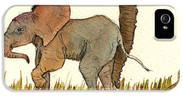 Tender iPhone 5 Cases - Baby elephant iPhone 5 Case by Juan  Bosco