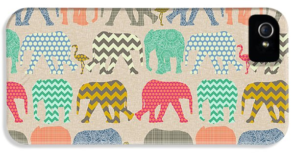 Baby Elephants And Flamingos Linen IPhone 5 / 5s Case by Sharon Turner