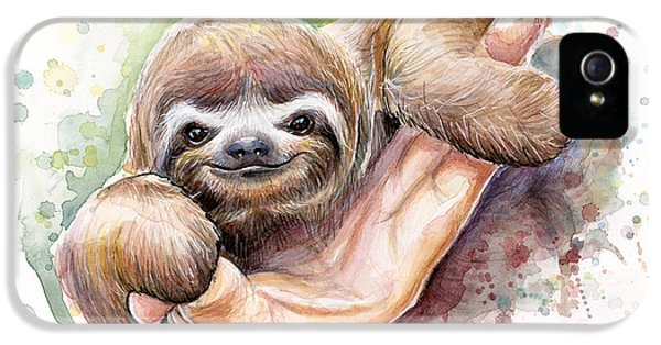 Zoo iPhone 5 Cases - Baby Sloth Watercolor Art iPhone 5 Case by Olga Shvartsur