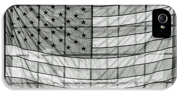 Stars And Strips iPhone 5 Cases - Backlit American Flag in Black and White iPhone 5 Case by Photographic Arts And Design Studio