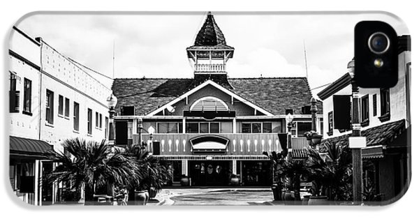 Newport Beach iPhone 5 Cases - Balboa California Main Street Black and White Picture iPhone 5 Case by Paul Velgos